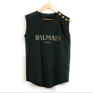 Balmain cotton Jersey tank w/button detail NWT